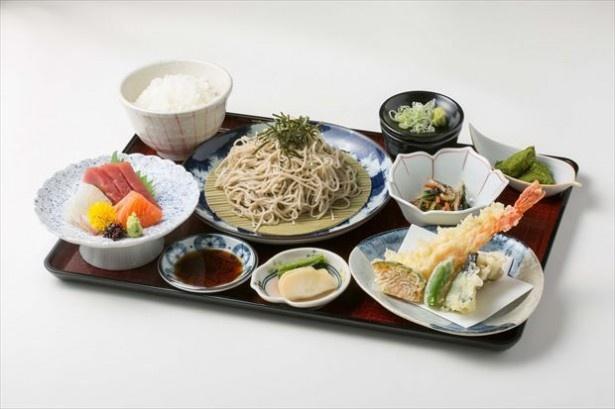 地産食材を使ったメニューを堪能することもできる。写真は「みはらし御膳」(1580円)
