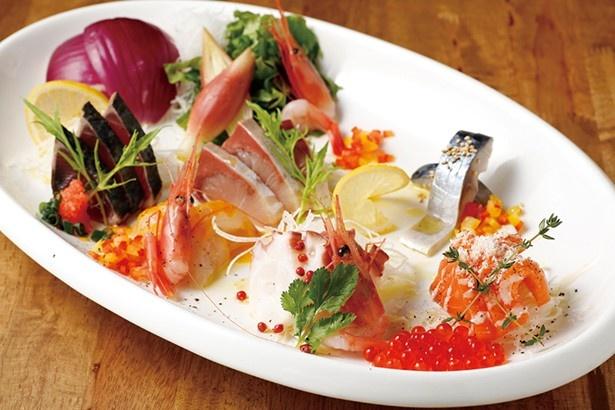おさかなビストロ のぶ/北海道産鮮魚入り! カルパッチョ 写真は3人盛りで1,598円