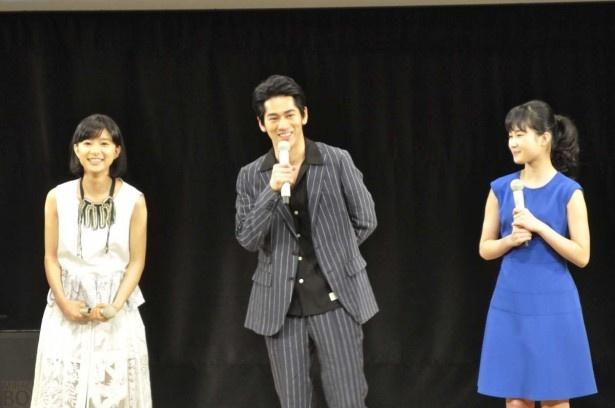 クランクアップ以来久しぶりに板東家の親子3人がそろった。左から芳根京子、永山絢斗、井頭愛海