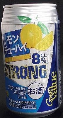 アルコール度数8%あるPBチューハイ「Great Value レモンチューハイ ストロング」は88円