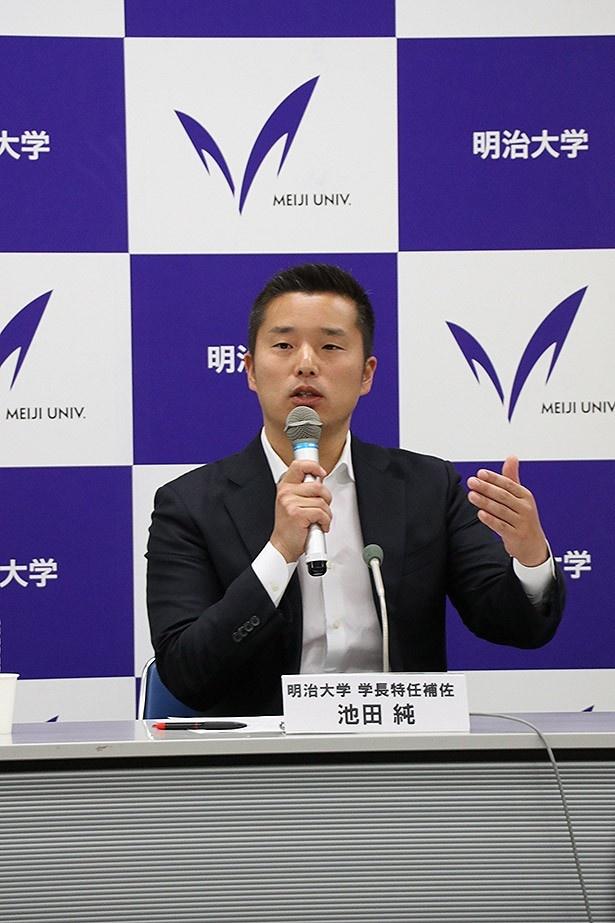 池田氏は、大学スポーツの振興に意欲を示した