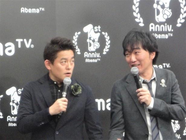 2016年4月に開局以来、番組に出演しているスピードワゴンの井戸田潤(左)と小沢一敬(右)