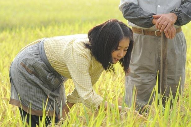 祖父・茂(古谷一行)と農作業を楽しむみね子