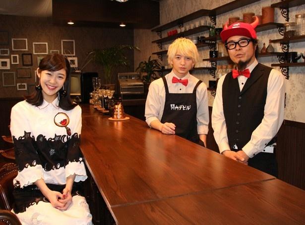 「関内デビル」に出演する加村真美、小林龍二、菊谷宏樹ディレクター(左から)