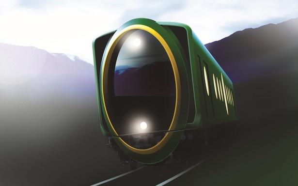 叡山電鉄の新しい観光用車両は、楕円形をモチーフとしたこれまでにないデザインの前面が特徴