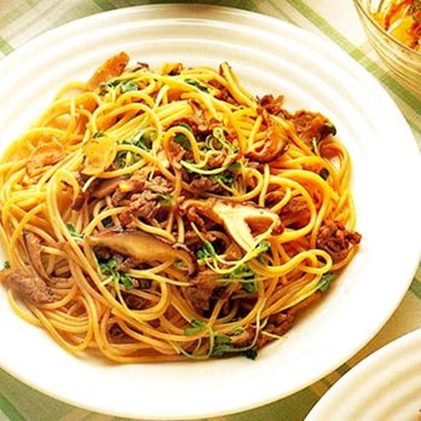「しょうゆ味の焼き肉スパゲッティ」 レタスクラブニュースより