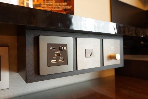 客室に設けられたメディアハブ。ケーブルも貸し出してくれるので、さまざまな形で活用できそうだ