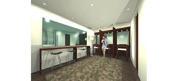 レンタルショールームのある3階には、コットン、めん棒、あぶら取紙などもそろったアロマ香るパウダールームや、こだわりのコーヒーも無料で楽しめるラウンジなども併設