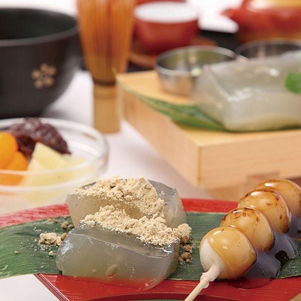本造り笑来美餅(1100円)(抹茶またはコーヒー付き)/甘味処 創作和菓子工房 芭蕉庵