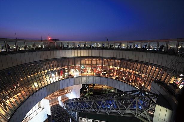 展望台は回廊になっていて、周遊しながら夜景を満喫できる