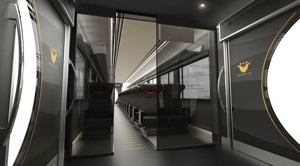 【写真を見る】「プレミアムカー」の車内。スタイリッシュな空間に、リクライニングシートがゆったりと並ぶ