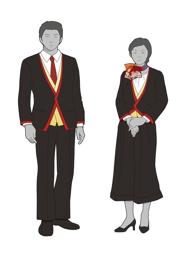 専属アテンダントの制服には、京阪特急の伝統色である赤と、プレミアム感を演出する金色をアクセントに使用