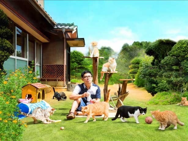 庭に集まってきたネコたちと戯れる佐久本(伊藤)