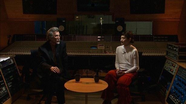 前半の舞台はコムアイが楽曲製作を行う音楽スタジオ