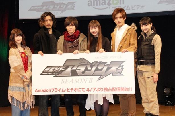 「仮面ライダーアマゾンズ」シーズン2製作発表に登壇した、東亜優、谷口賢志、前嶋曜、白本彩奈、藤田富、武田玲奈(写真左から)