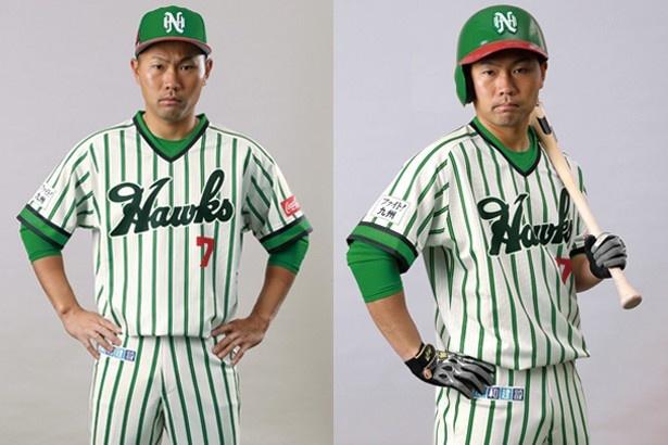 南海ホークスの復刻ユニフォームは、4月28日(金)からの「京セラドーム大阪」で開催されるオリックス3連戦で着用。モデルは中村 晃選手