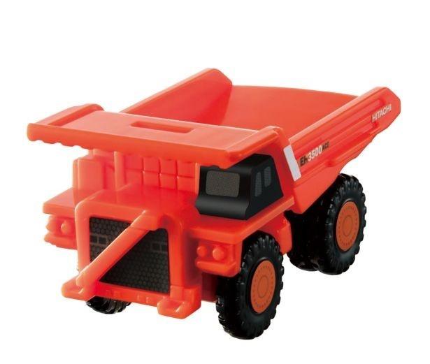 車体前部のボタンを押すと荷台がゆっくりと上がっていく「日立建機 リジッドダンプトラック EH3500ACII」