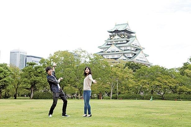 広大な芝生が印象的な、大阪城の西の丸庭園。天守閣を眺めるならココ/大阪城