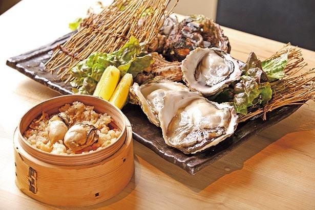 「牡蠣セイロ飯」(手前・540円)、食べ比べが楽しい「牡蠣の産地3種盛り」(奥・1500円から) ※カキの価格は時期により異なる/かき鐵