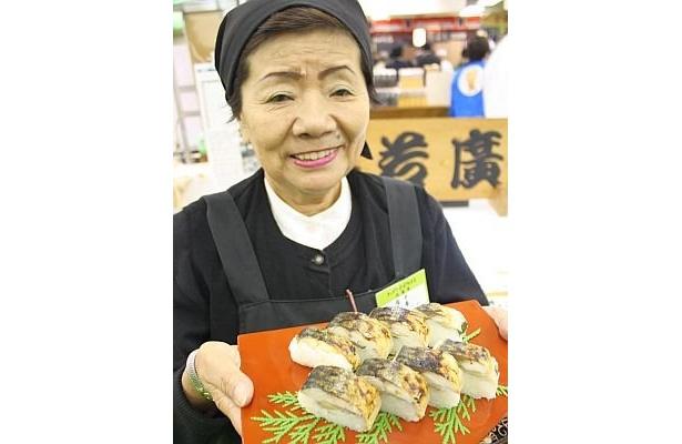 福井県から来た若廣「焼き鯖すし」(1箱1050円)。空弁で有名で、各メディアでも紹介されている一品 ※写真のものは試食用ではありません