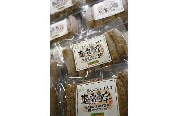 沖縄のもずく養殖業者が開発販売する「海雲ウィンナー」(500円)は、離島フェア2008の優良特産品で特別賞を受賞している