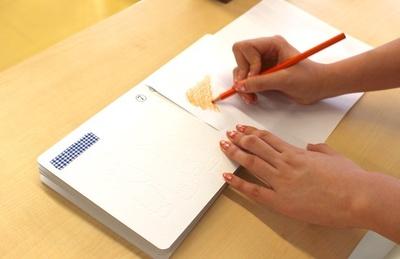 真っ白な本の上に紙をのせて色鉛筆で塗ってくと、動物が登場!