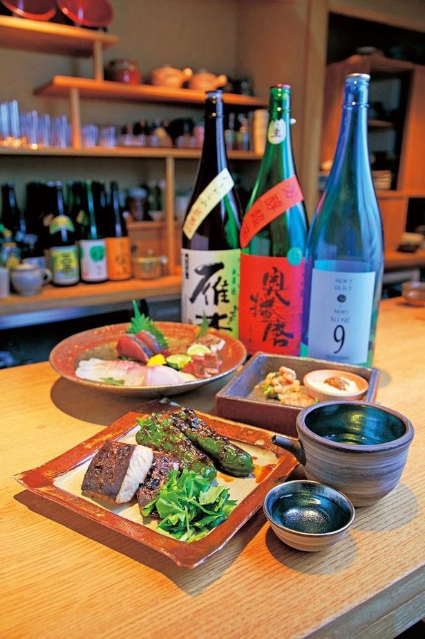 調味料に醤を用いた「サワラの西京味噌焼き」(手前皿・980円)、「万願寺とうがらしの炭火焼」(手前皿・700円)/酒麹 びしを