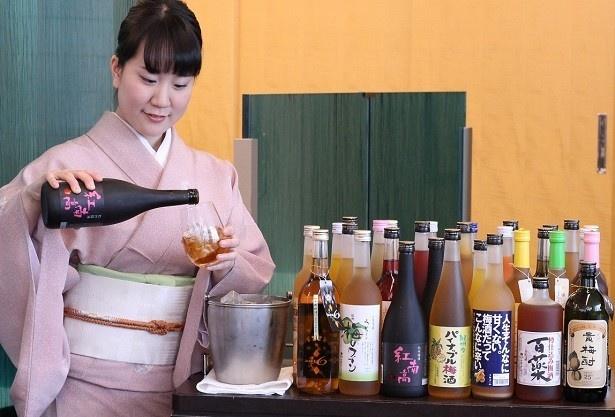 ウメの実を全ての料理に使用した、 全5品の「ミニ梅会席」(梅酒飲み放題付き、6000円)も