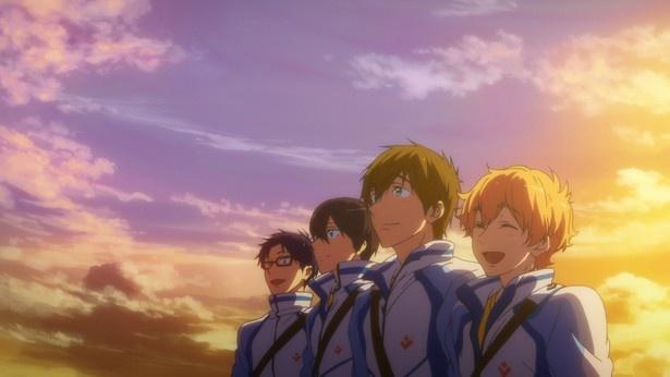高校水泳部が舞台のTVアニメ「Free!」シリーズを2本の劇場版として再構築した前篇