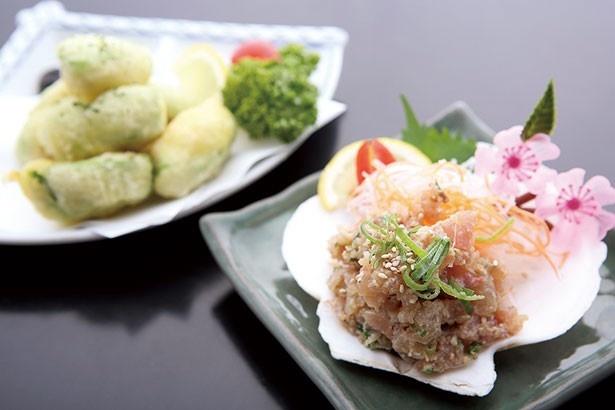 「天然ハマチのなめろう」(右・420円)、「アボカドの天ぷら」(左・480円) 。家庭料理と美貌にほっこり♪/ほっこりダイニング田なか