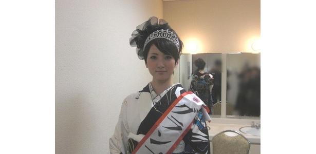 イベント終了後、関西ウォーカーの取材にて撮影。グランプリの松岡史子さん