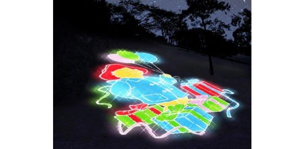 リフト左側に描かれるマスコットキャラのイルミ「光のパディントン ベア」