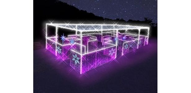 ピンクのLEDの壁で造られた「光の迷路」