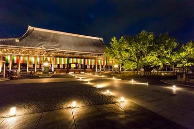 【写真を見る】荘厳な光に照らし出された西本願寺・御影堂のライトアップ