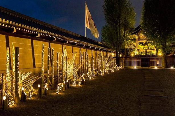堀川通沿いの築地塀には被災した熊本の竹が使われた「竹あかり」も展示されている