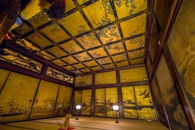 「鴻の間」の西にある国宝「雁の間」。襖と壁面には飛翔する雁の群れや水辺に遊ぶ雁が描かれている