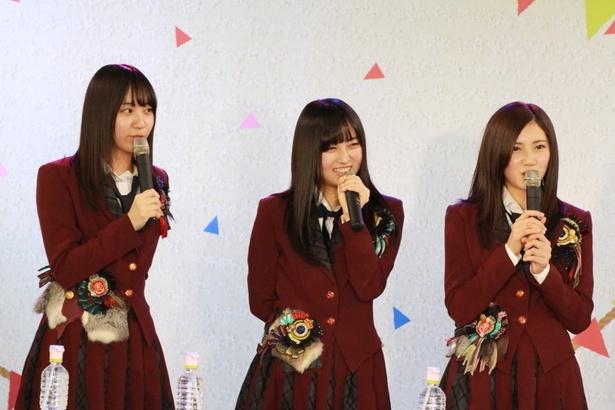 SKE48 CAFE&SHOP出張イベントの第2部に登場した日高優月、矢作有紀奈、北川綾巴(写真左から)
