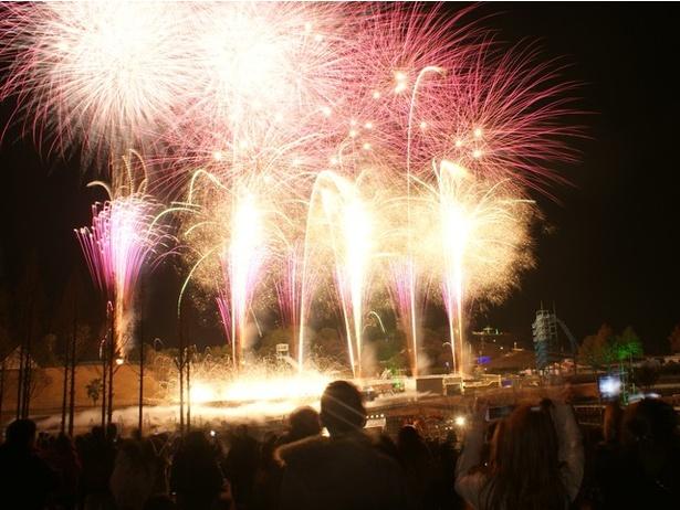 【写真を見る】「光のファンタジー」開催中は、20:00から毎日花火が打ち上がる※荒天中止