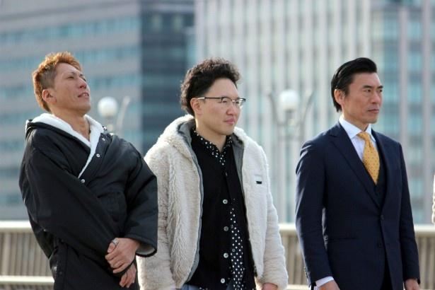 左から・神雄を演じた黒田悠斗、森林原人、田淵正浩