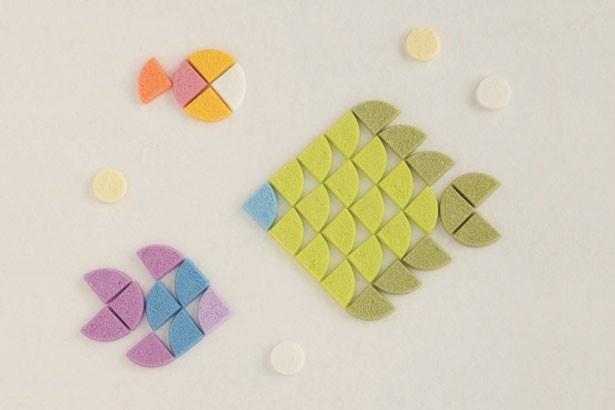 1F・UCHU wagashi。「made in Kyoto」の和菓子を発信する落雁専門店。厳選素材と和三盆糖を使って作る落雁はどれもキュート!