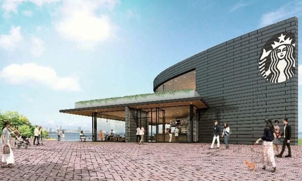 【写真を見る】関西エリア初の公園内店スターバックスがオープン!2階は船首をイメージした形が特徴