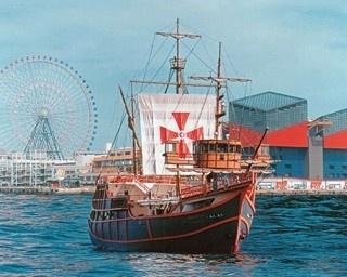 探検家・コロンブスの旗艦「サンタマリア号」を約2倍の規模で復元。船上からいつもとは異なる大阪の景色を楽しんで/帆船型観光船サンタマリア