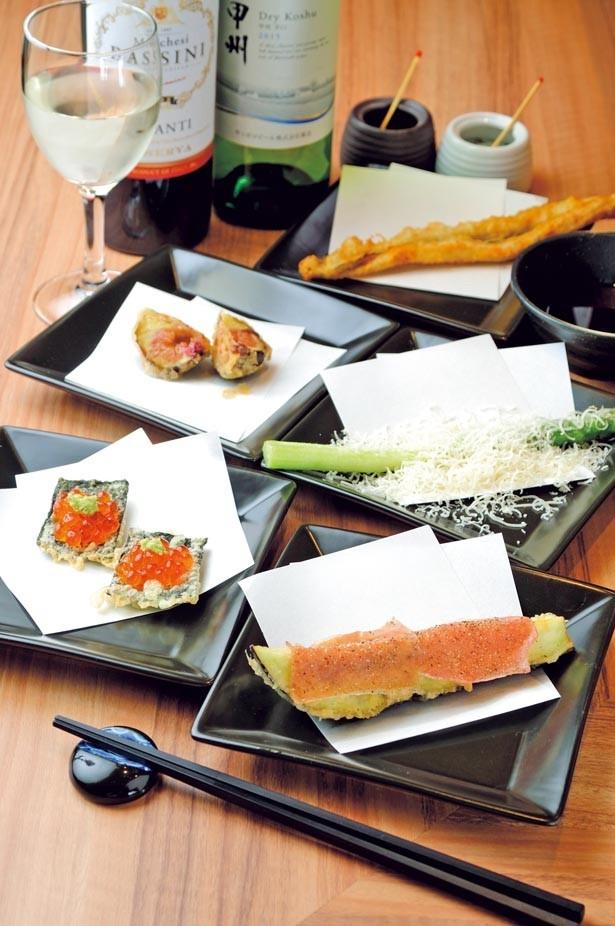「海苔いくらカナッペ」(手前左・190円)、「茄子プロシュート」(手前右・190円)、「パルジャミーノ アスパラ」(中右・290円)など、食材の組み合わせがおもしろい/天ぷらとワイン 大塩