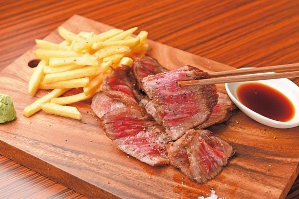 「和牛ランプステーキ」(2780円/150g ※税別)。肉質5等級のランプ肉は、サシが入るが、あっさりとしたあと味が魅力/肉バル GAM