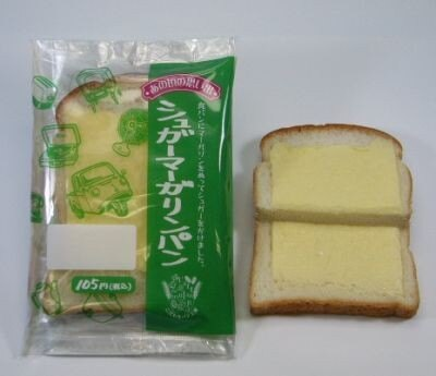 食パンに塩味を効かせたマーガリン塗り、シュガーをかけた「シュガーマーガリンパン」