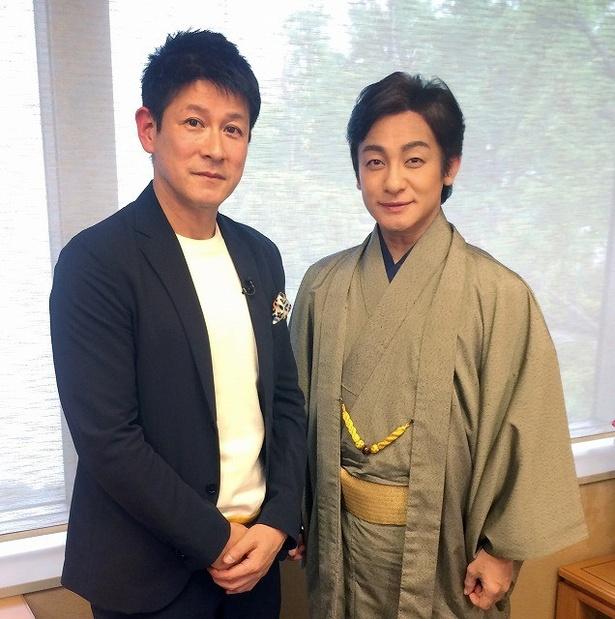 「Newsモーニングサテライト」に出演する池谷亨と片岡愛之助