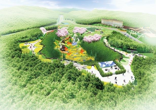【写真を見る】広大な敷地面積と棚田風の地形を生かした、四季折々の花が咲き誇る「ネスタフローラ 花結びの谷」/NESTA RESORT KOBE