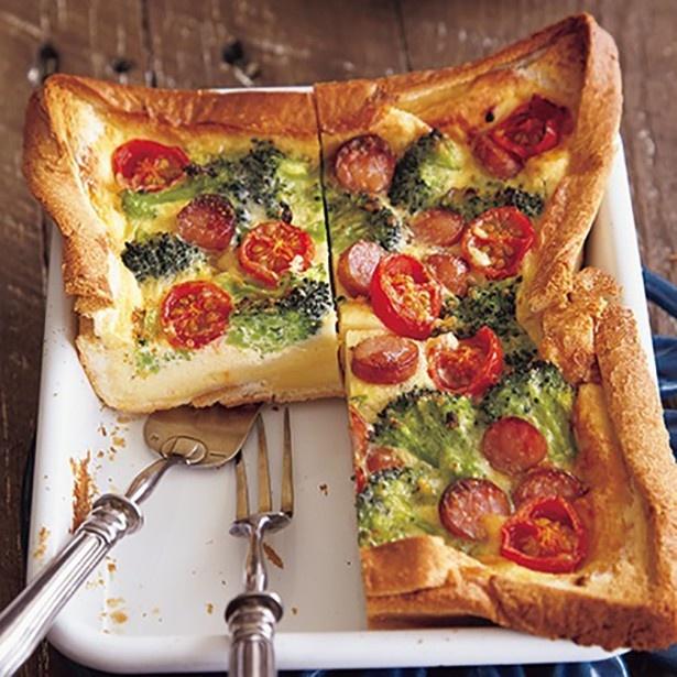 【関連レシピ】鮮やかな野菜の色に視線集中!「ソーセージとミニトマトの食パンキッシュ」