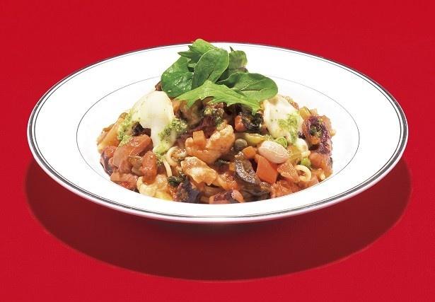 「いろいろ野菜とタコのトマト煮パスタ」(1280円)