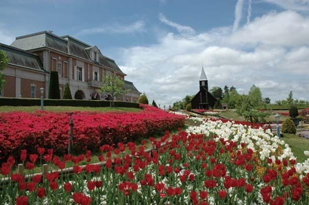 園内には多彩な花が咲き誇り、春はチューリップ、桜、アイスランドポピーなどが満開に。花の香りに包まれた園内を散策/道の駅 神戸フルーツ・フラワーパーク大沢 FARM CIRCUS